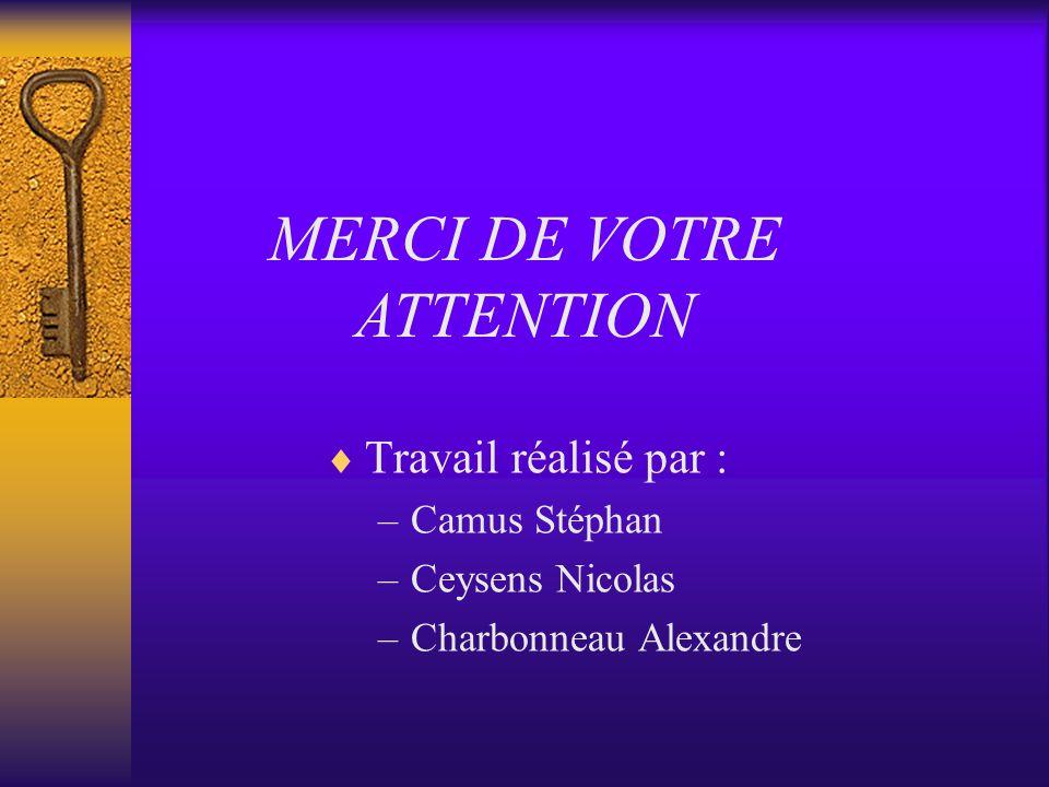 Travail réalisé par : –Camus Stéphan –Ceysens Nicolas –Charbonneau Alexandre MERCI DE VOTRE ATTENTION