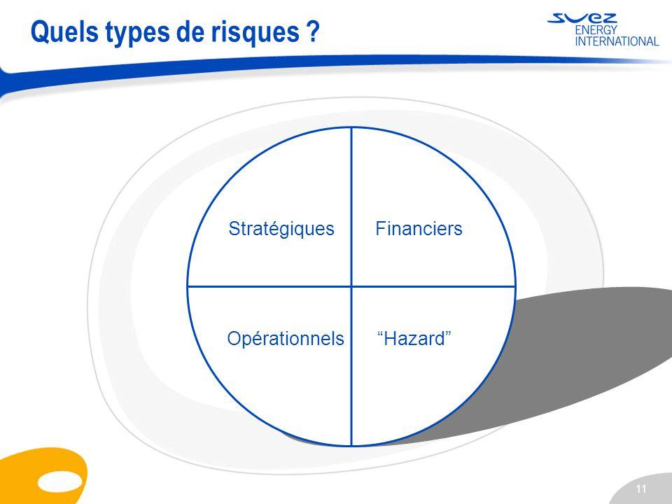 11 Quels types de risques ? StratégiquesFinanciers OpérationnelsHazard
