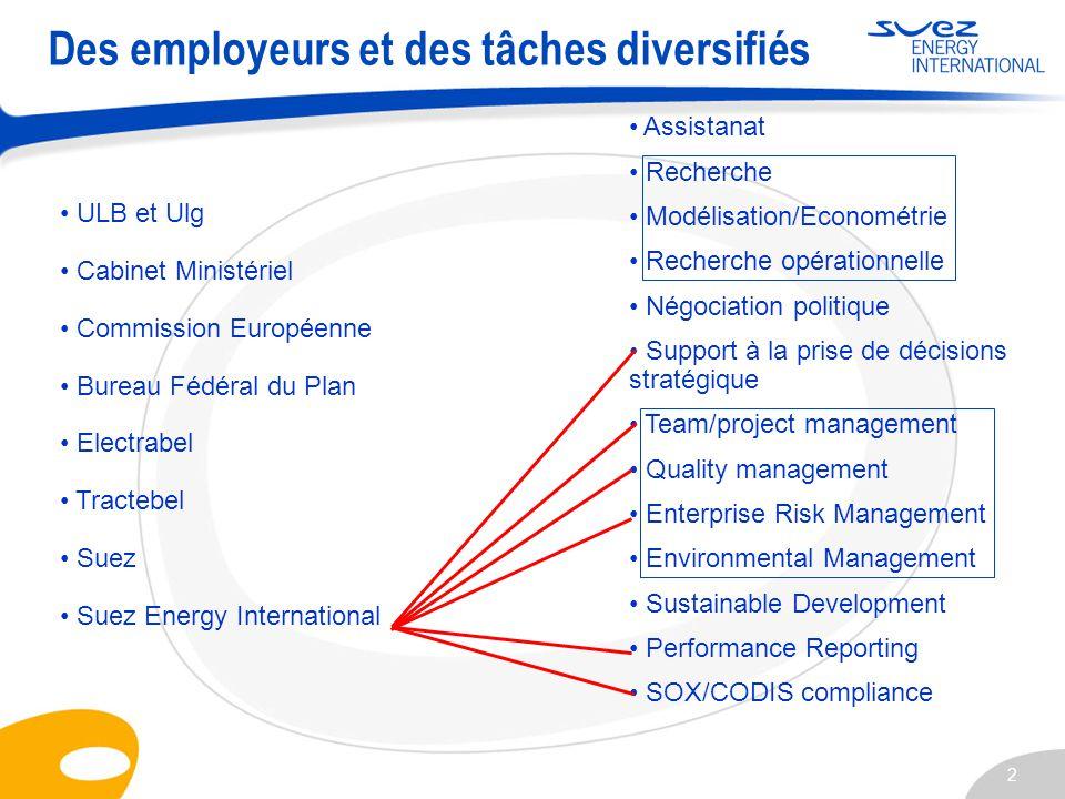 2 Des employeurs et des tâches diversifiés ULB et Ulg Cabinet Ministériel Commission Européenne Bureau Fédéral du Plan Electrabel Tractebel Suez Suez