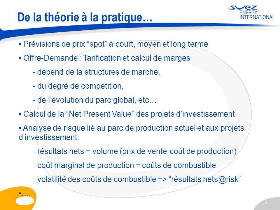 7 Prévisions de prix spot à court, moyen et long terme Offre-Demande : Tarification et calcul de marges - dépend de la structures de marché, - du degr