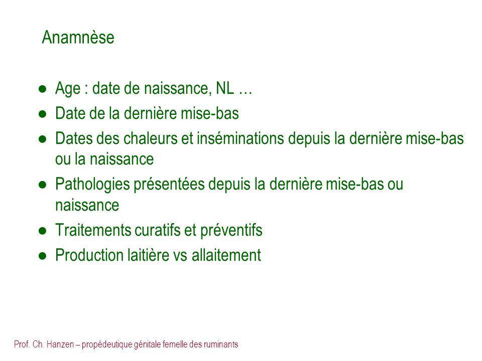 Prof. Ch. Hanzen – propédeutique génitale femelle des ruminants Anamnèse Age : date de naissance, NL … Date de la dernière mise-bas Dates des chaleurs