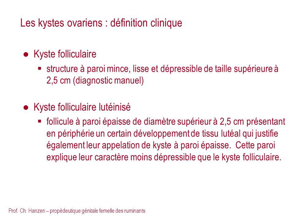 Prof. Ch. Hanzen – propédeutique génitale femelle des ruminants Les kystes ovariens : définition clinique Kyste folliculaire structure à paroi mince,