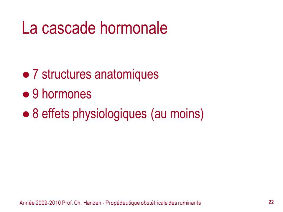 Année 2009-2010 Prof. Ch. Hanzen - Propédeutique obstétricale des ruminants 22 La cascade hormonale 7 structures anatomiques 9 hormones 8 effets physi