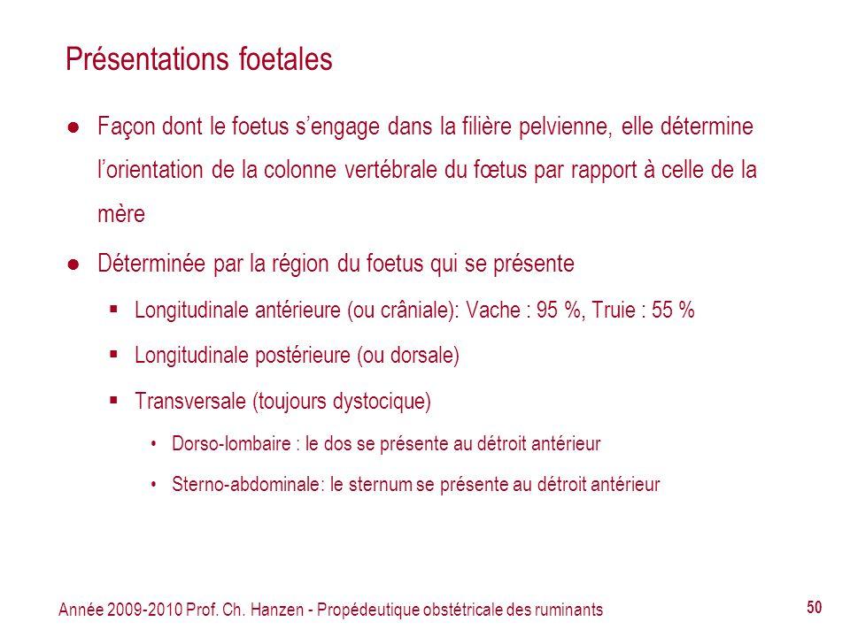 Année 2009-2010 Prof. Ch. Hanzen - Propédeutique obstétricale des ruminants 50 Présentations foetales Façon dont le foetus sengage dans la filière pel