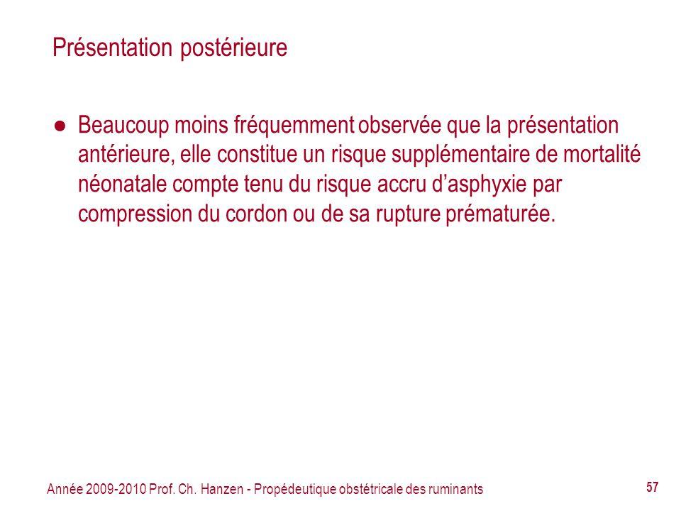 Année 2009-2010 Prof. Ch. Hanzen - Propédeutique obstétricale des ruminants 57 Présentation postérieure Beaucoup moins fréquemment observée que la pré