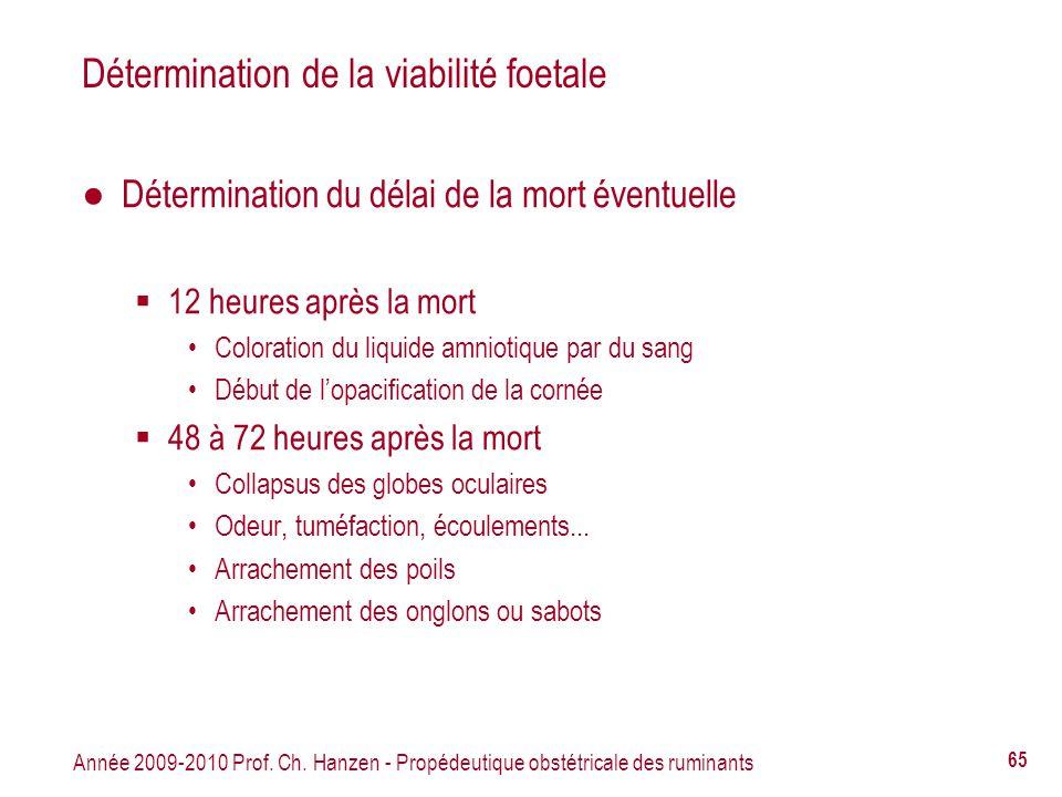 Année 2009-2010 Prof. Ch. Hanzen - Propédeutique obstétricale des ruminants 65 Détermination de la viabilité foetale Détermination du délai de la mort