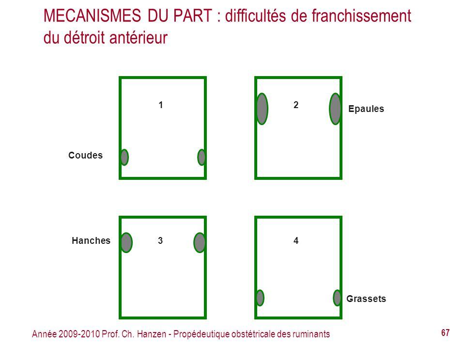 Année 2009-2010 Prof. Ch. Hanzen - Propédeutique obstétricale des ruminants 67 Coudes Hanches Epaules Grassets 1 3 2 4 MECANISMES DU PART : difficulté