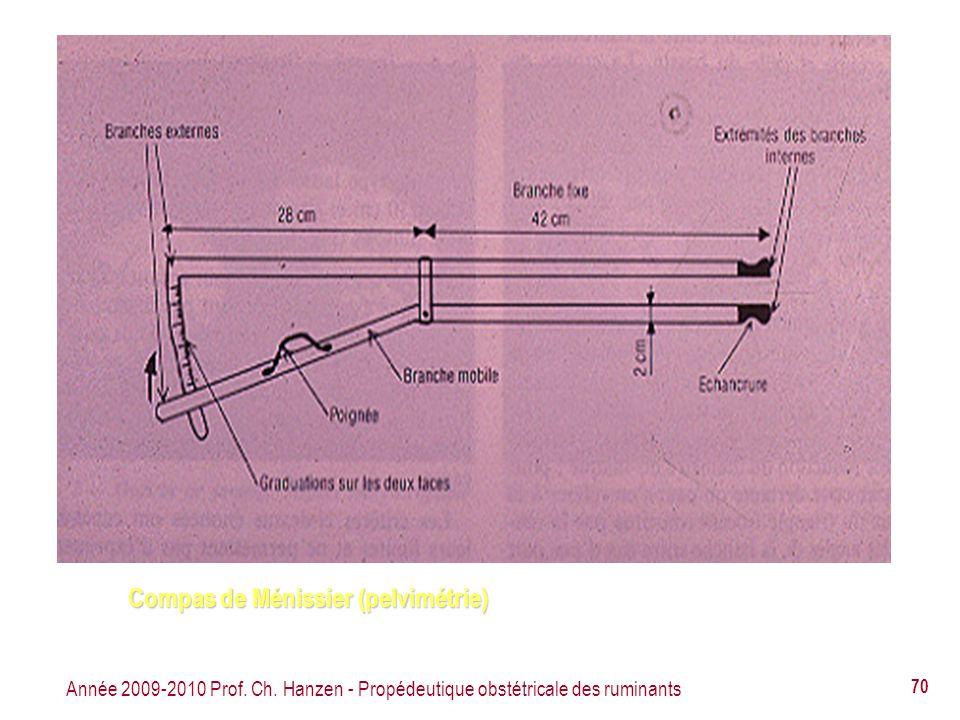 Année 2009-2010 Prof. Ch. Hanzen - Propédeutique obstétricale des ruminants 70 Compas de Ménissier (pelvimétrie)