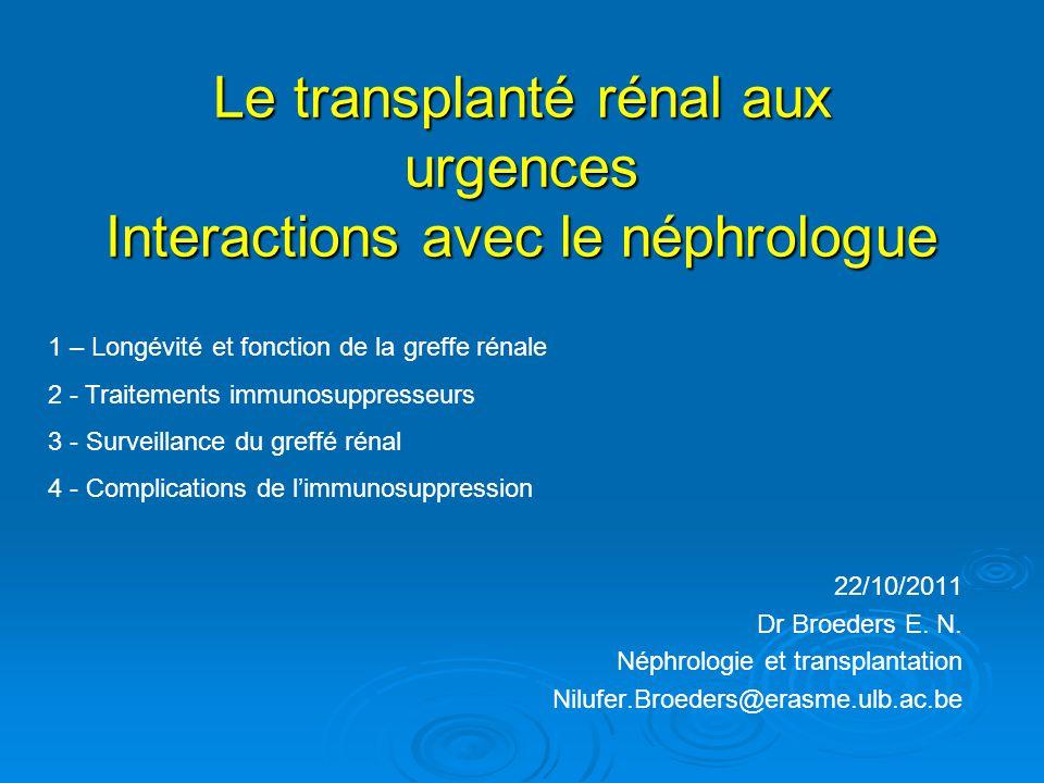 Le transplanté rénal aux urgences Interactions avec le néphrologue 22/10/2011 Dr Broeders E. N. Néphrologie et transplantation Nilufer.Broeders@erasme