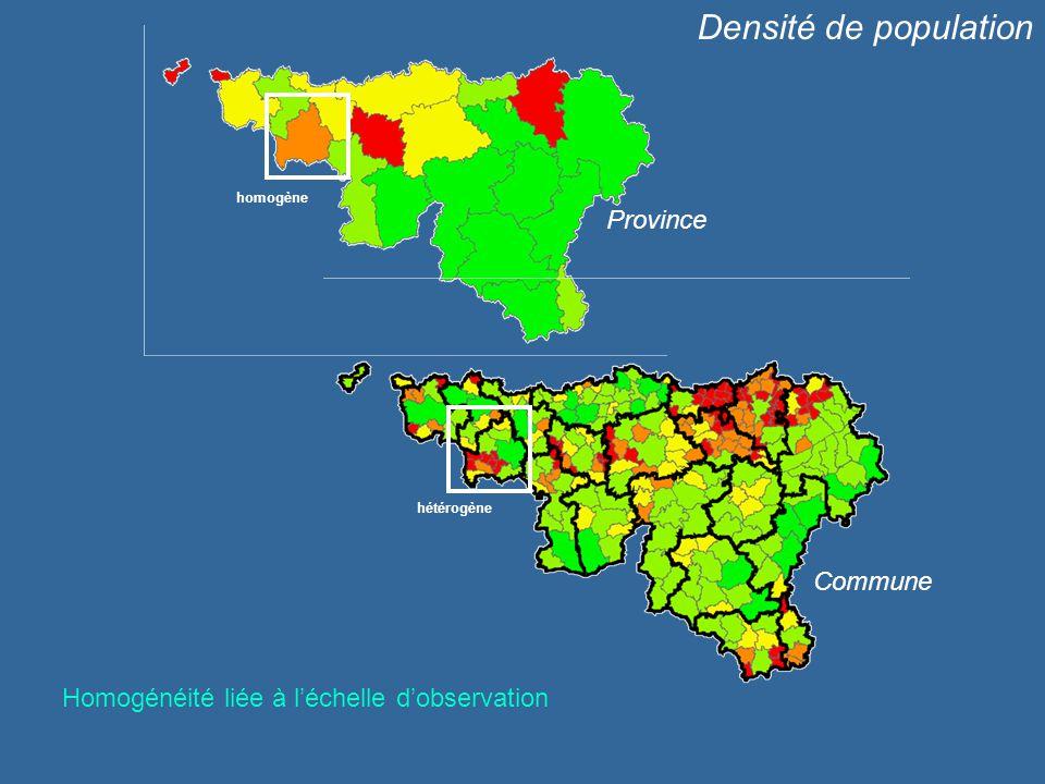 Densité de population Province Commune homogène hétérogène Homogénéité liée à léchelle dobservation
