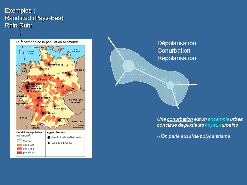 Dépolarisation Conurbation Repolarisation Une conurbation est un ensemble urbain constitué de plusieurs noyaux urbains On parle aussi de polycentrisme