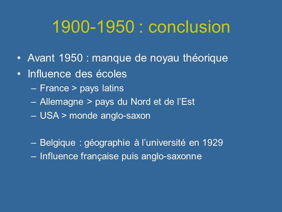 1900-1950 : conclusion Avant 1950 : manque de noyau théorique Influence des écoles –France > pays latins –Allemagne > pays du Nord et de lEst –USA > m