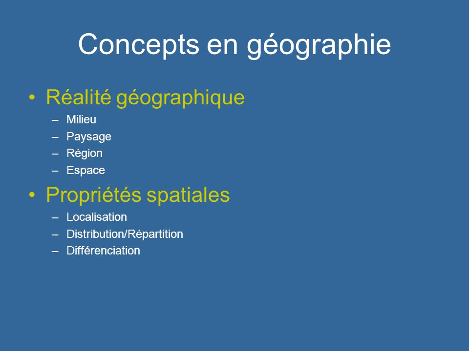 Concepts en géographie Réalité géographique –Milieu –Paysage –Région –Espace Propriétés spatiales –Localisation –Distribution/Répartition –Différencia