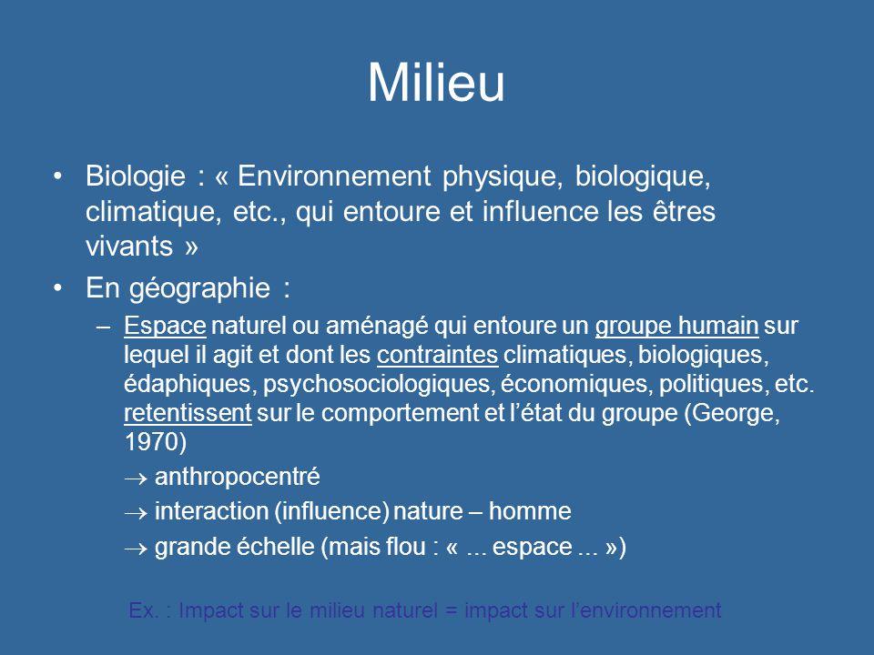 Milieu Biologie : « Environnement physique, biologique, climatique, etc., qui entoure et influence les êtres vivants » En géographie : –Espace naturel