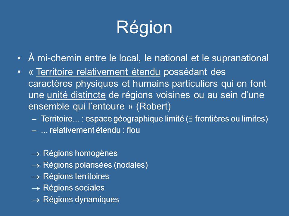 Région À mi-chemin entre le local, le national et le supranational « Territoire relativement étendu possédant des caractères physiques et humains part