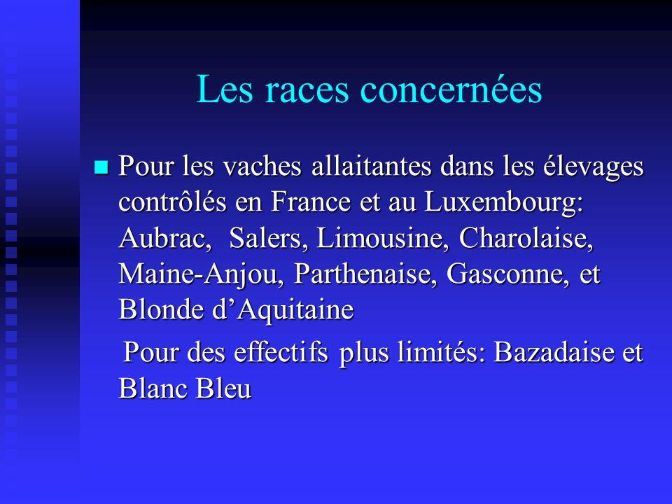 Les races concernées Pour les vaches allaitantes dans les élevages contrôlés en France et au Luxembourg: Aubrac, Salers, Limousine, Charolaise, Maine-