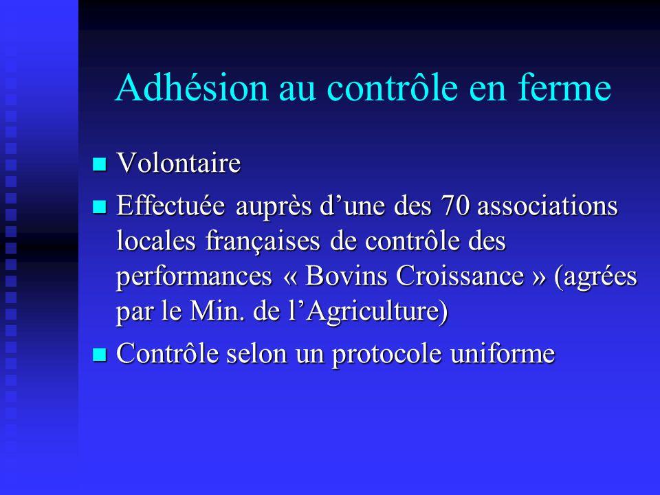 Adhésion au contrôle en ferme Volontaire Volontaire Effectuée auprès dune des 70 associations locales françaises de contrôle des performances « Bovins