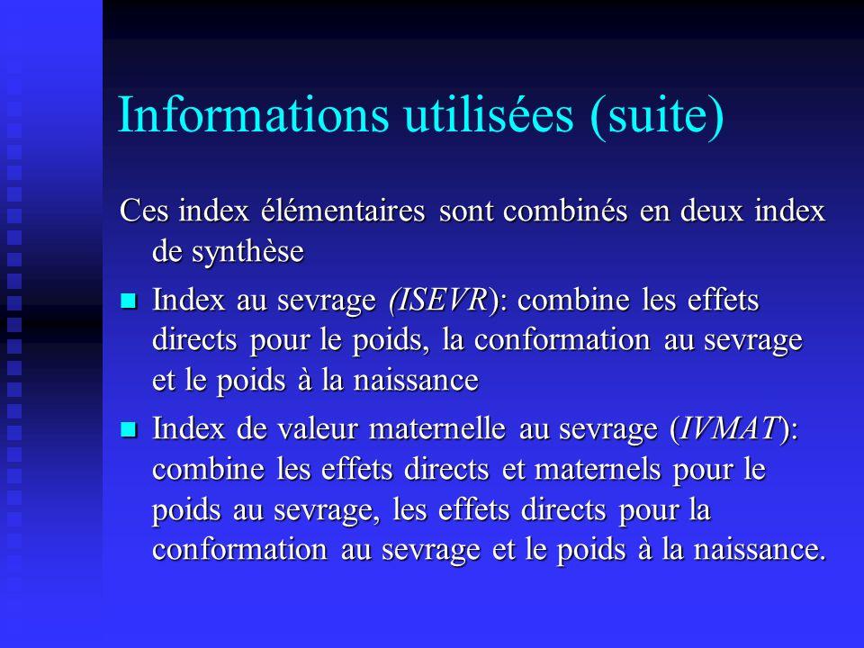 Informations utilisées (suite) Ces index élémentaires sont combinés en deux index de synthèse Index au sevrage (ISEVR): combine les effets directs pou