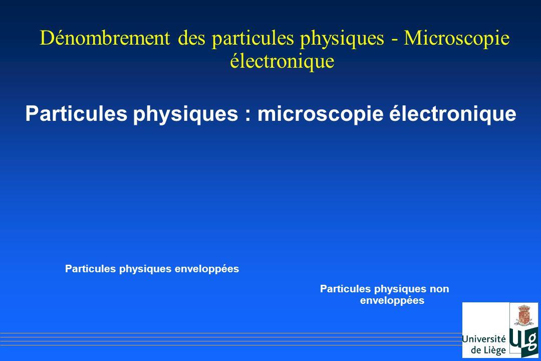Dénombrement des particules physiques - Microscopie électronique Particules physiques : microscopie électronique Particules physiques enveloppées Part