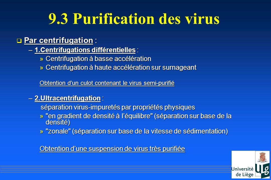 9.3 Purification des virus Par centrifugation : Par centrifugation : –1.Centrifugations différentielles : »Centrifugation à basse accélération »Centri