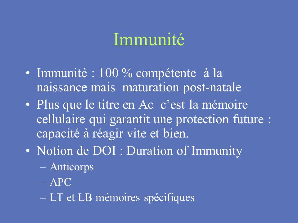 Immunité Immunité : 100 % compétente à la naissance mais maturation post-natale Plus que le titre en Ac cest la mémoire cellulaire qui garantit une pr