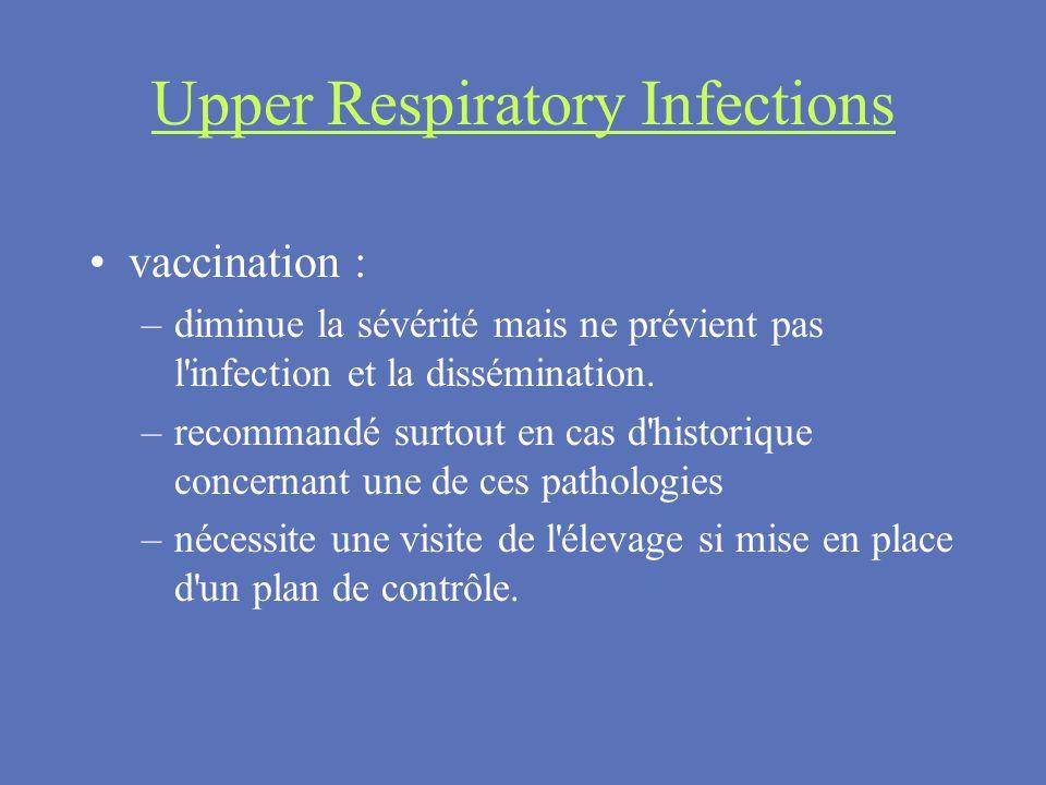 Upper Respiratory Infections vaccination : –diminue la sévérité mais ne prévient pas l'infection et la dissémination. –recommandé surtout en cas d'his