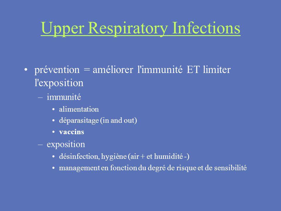Upper Respiratory Infections prévention = améliorer l'immunité ET limiter l'exposition –immunité alimentation déparasitage (in and out) vaccins –expos