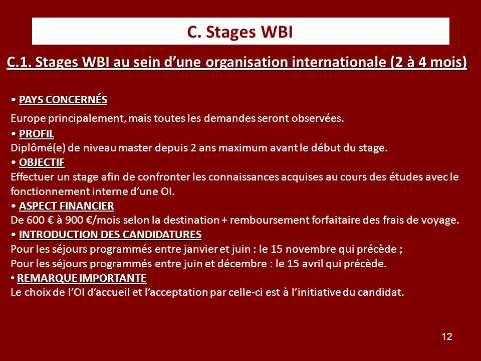 12 C. Stages WBI PAYS CONCERNÉS PAYS CONCERNÉS Europe principalement, mais toutes les demandes seront observées. PROFIL PROFIL Diplômé(e) de niveau ma