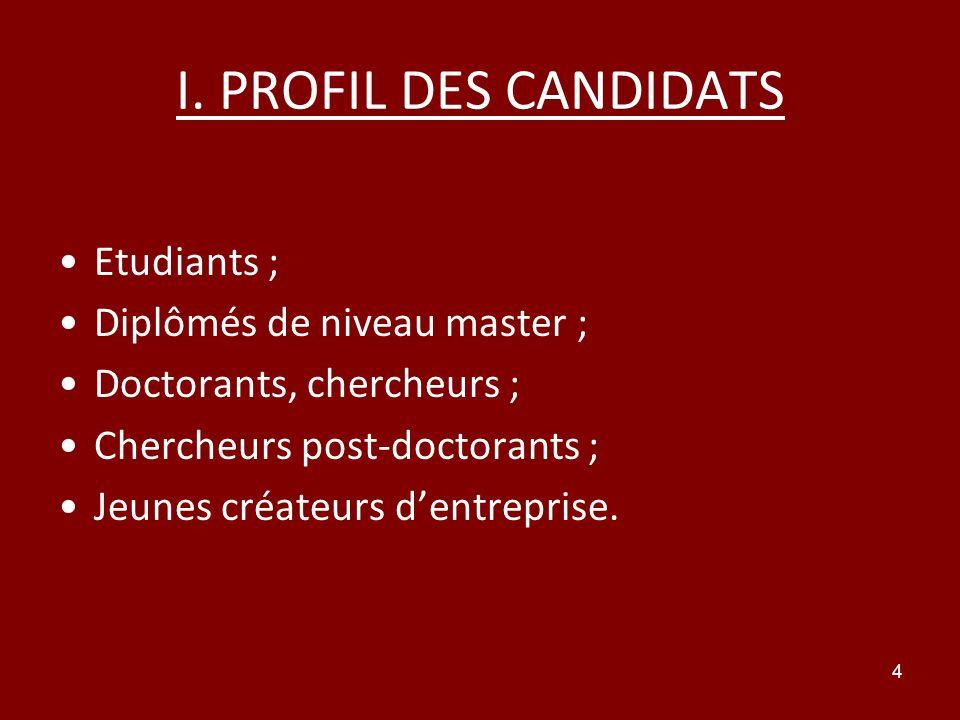 4 I. PROFIL DES CANDIDATS Etudiants ; Diplômés de niveau master ; Doctorants, chercheurs ; Chercheurs post-doctorants ; Jeunes créateurs dentreprise.