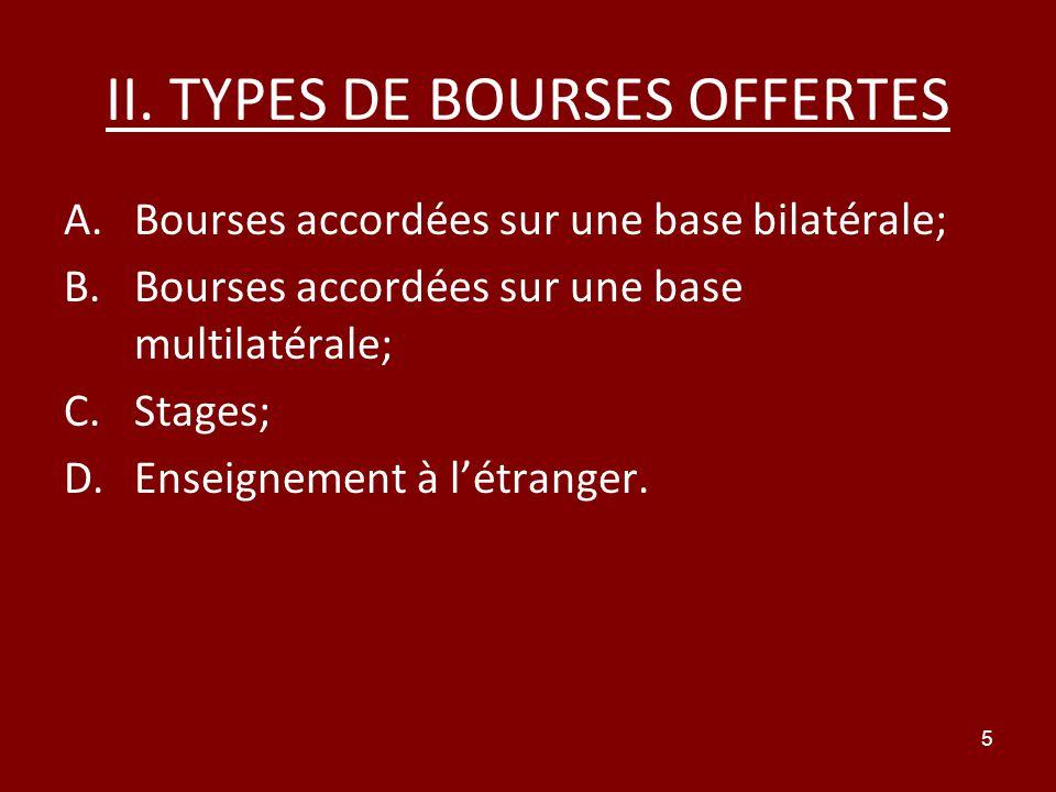 5 II. TYPES DE BOURSES OFFERTES A.Bourses accordées sur une base bilatérale; B.Bourses accordées sur une base multilatérale; C.Stages; D.Enseignement