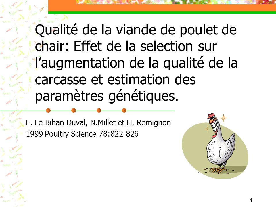1 Qualité de la viande de poulet de chair: Effet de la selection sur laugmentation de la qualité de la carcasse et estimation des paramètres génétique