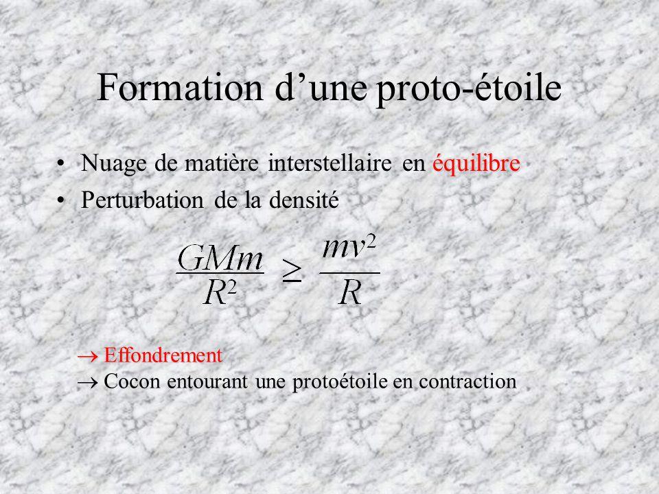 Formation dune proto-étoile équilibreNuage de matière interstellaire en équilibre Perturbation de la densité Effondrement Effondrement Cocon entourant une protoétoile en contraction
