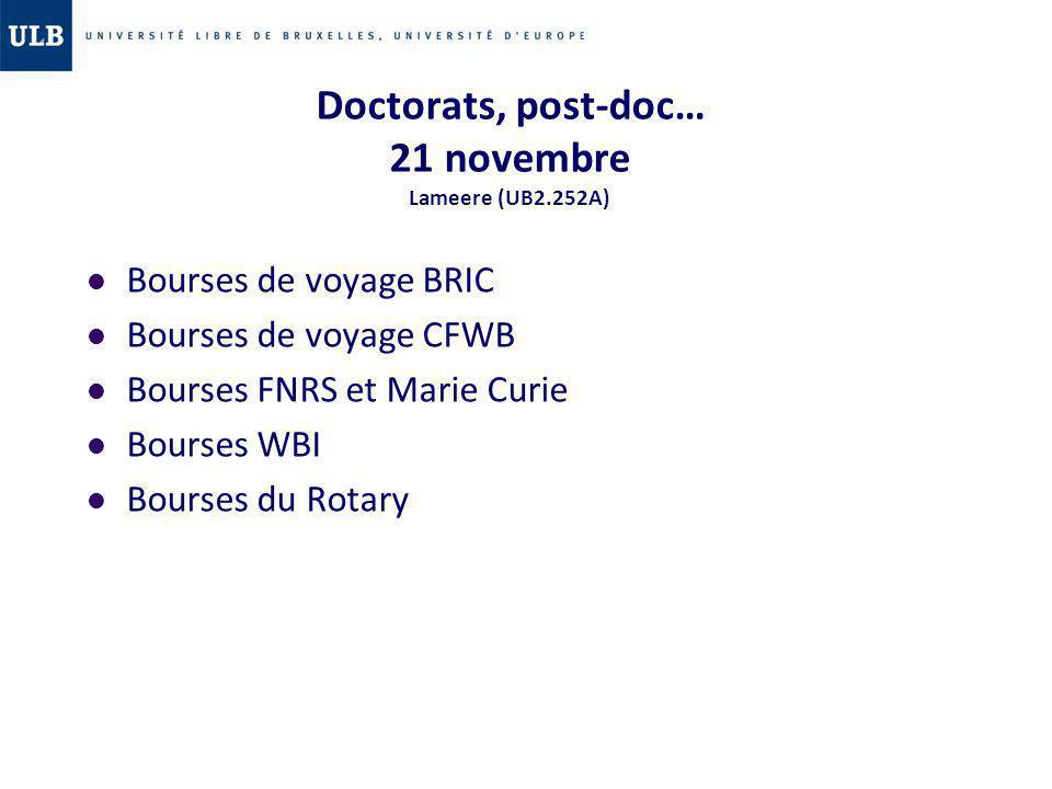 Doctorats, post-doc… 21 novembre Lameere (UB2.252A) Bourses de voyage BRIC Bourses de voyage CFWB Bourses FNRS et Marie Curie Bourses WBI Bourses du R