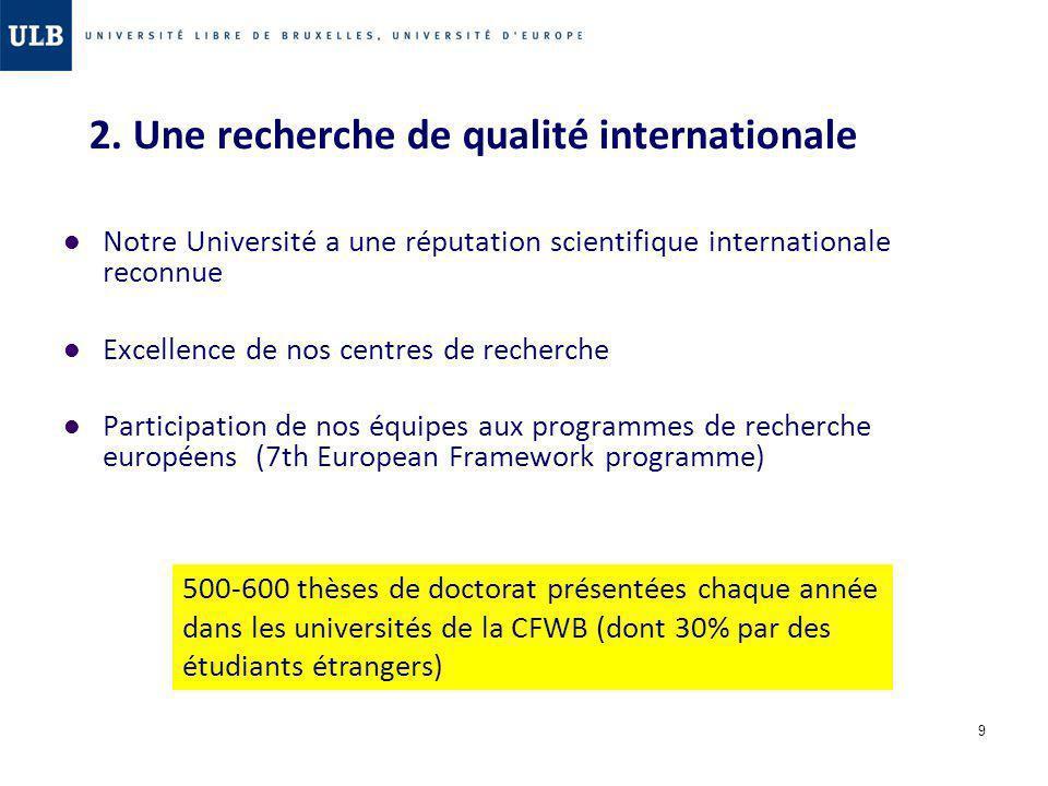 9 2. Une recherche de qualité internationale Notre Université a une réputation scientifique internationale reconnue Excellence de nos centres de reche