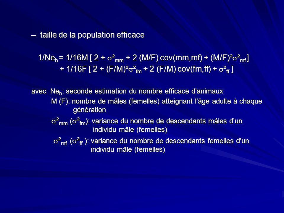 –taille de la population efficace 1/Ne h = 1/16M [ 2 + ² mm + 2 (M/F) cov(mm,mf) + (M/F)² ² mf ] 1/Ne h = 1/16M [ 2 + ² mm + 2 (M/F) cov(mm,mf) + (M/F