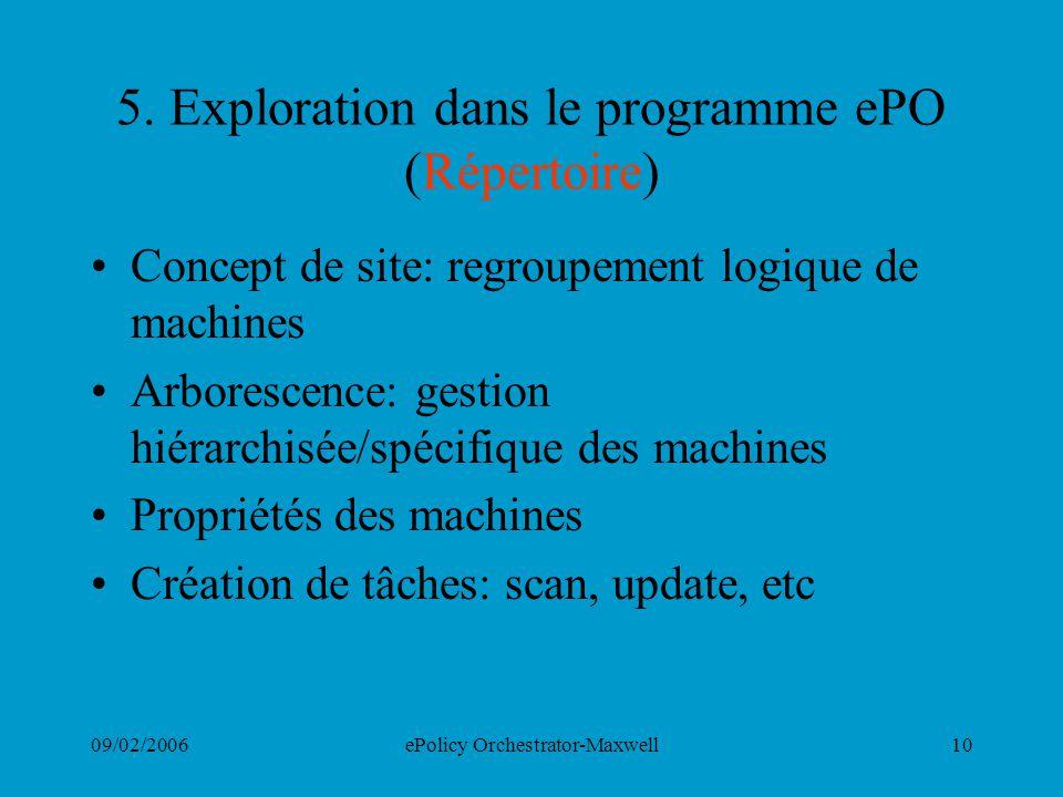 09/02/2006ePolicy Orchestrator-Maxwell10 5. Exploration dans le programme ePO (Répertoire) Concept de site: regroupement logique de machines Arboresce
