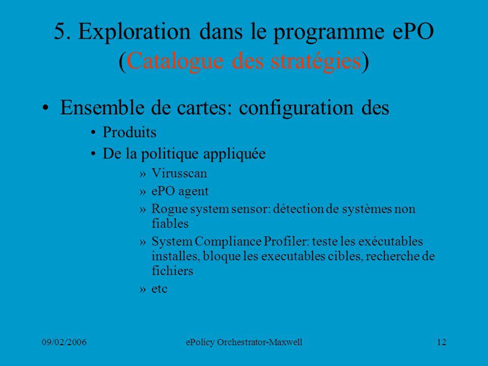 09/02/2006ePolicy Orchestrator-Maxwell12 5. Exploration dans le programme ePO (Catalogue des stratégies) Ensemble de cartes: configuration des Produit