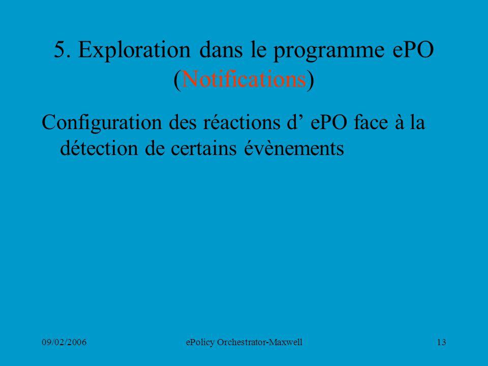 09/02/2006ePolicy Orchestrator-Maxwell13 5. Exploration dans le programme ePO (Notifications) Configuration des réactions d ePO face à la détection de