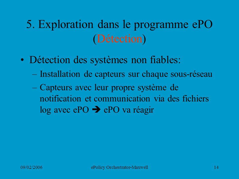 09/02/2006ePolicy Orchestrator-Maxwell14 5. Exploration dans le programme ePO (Détection) Détection des systèmes non fiables: –Installation de capteur