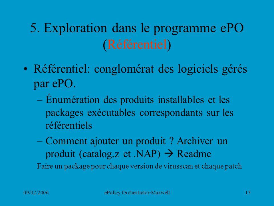 09/02/2006ePolicy Orchestrator-Maxwell15 5. Exploration dans le programme ePO (Référentiel) Référentiel: conglomérat des logiciels gérés par ePO. –Énu
