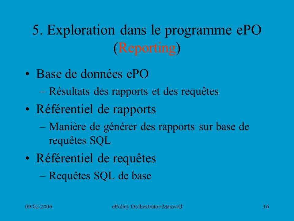 09/02/2006ePolicy Orchestrator-Maxwell16 5. Exploration dans le programme ePO (Reporting) Base de données ePO –Résultats des rapports et des requêtes