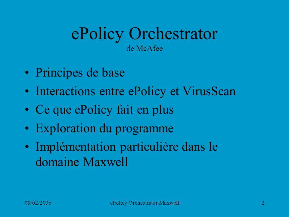 09/02/2006ePolicy Orchestrator-Maxwell2 ePolicy Orchestrator de McAfee Principes de base Interactions entre ePolicy et VirusScan Ce que ePolicy fait e