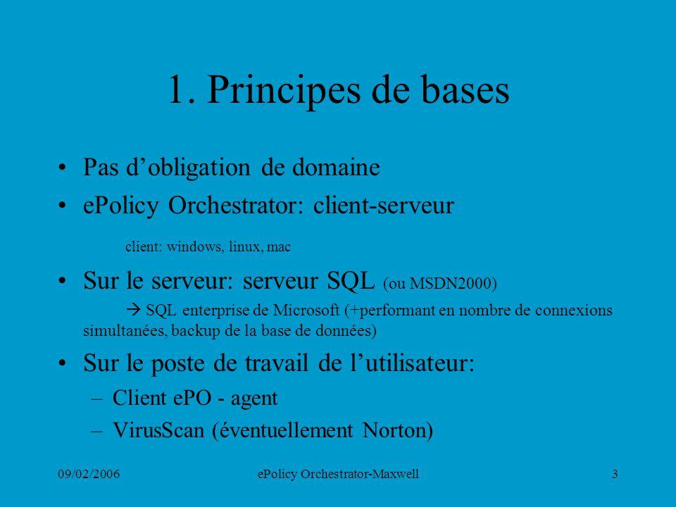 09/02/2006ePolicy Orchestrator-Maxwell3 1. Principes de bases Pas dobligation de domaine ePolicy Orchestrator: client-serveur client: windows, linux,