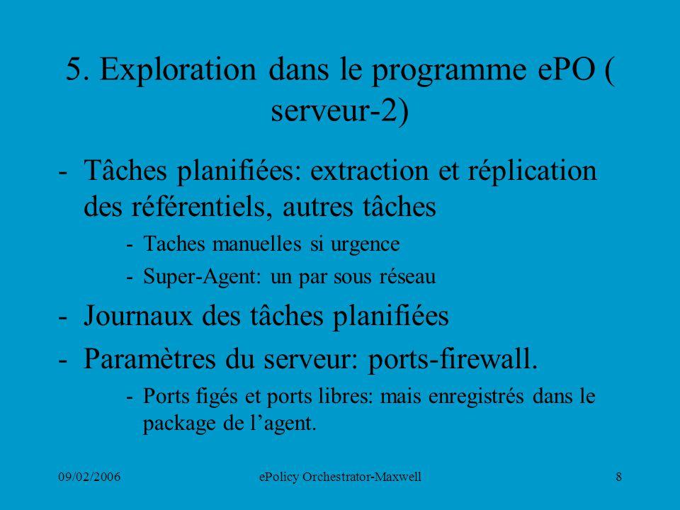 09/02/2006ePolicy Orchestrator-Maxwell8 5. Exploration dans le programme ePO ( serveur-2) -Tâches planifiées: extraction et réplication des référentie