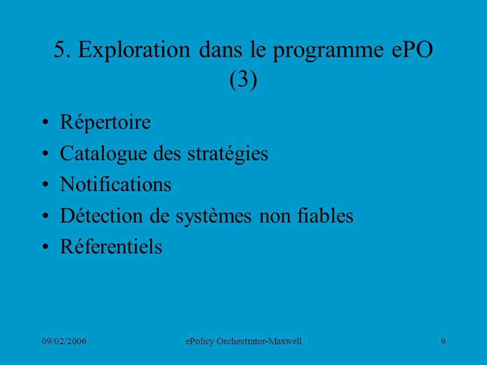 09/02/2006ePolicy Orchestrator-Maxwell9 5. Exploration dans le programme ePO (3) Répertoire Catalogue des stratégies Notifications Détection de systèm