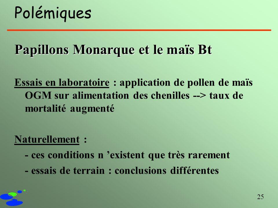 25 Polémiques Papillons Monarque et le maïs Bt Essais en laboratoire : application de pollen de maïs OGM sur alimentation des chenilles --> taux de mo