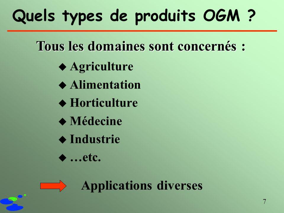 7 Quels types de produits OGM ? u Agriculture u Alimentation u Horticulture u Médecine u Industrie u …etc. Tous les domaines sont concernés : Applicat