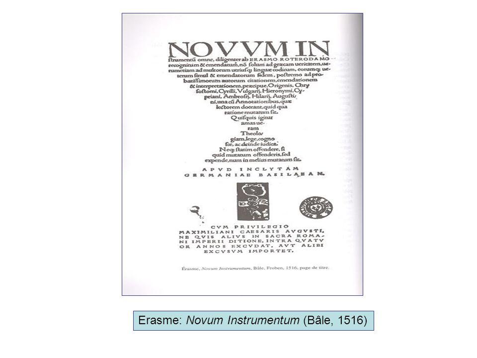 Erasme: Novum Instrumentum (Bâle, 1516)