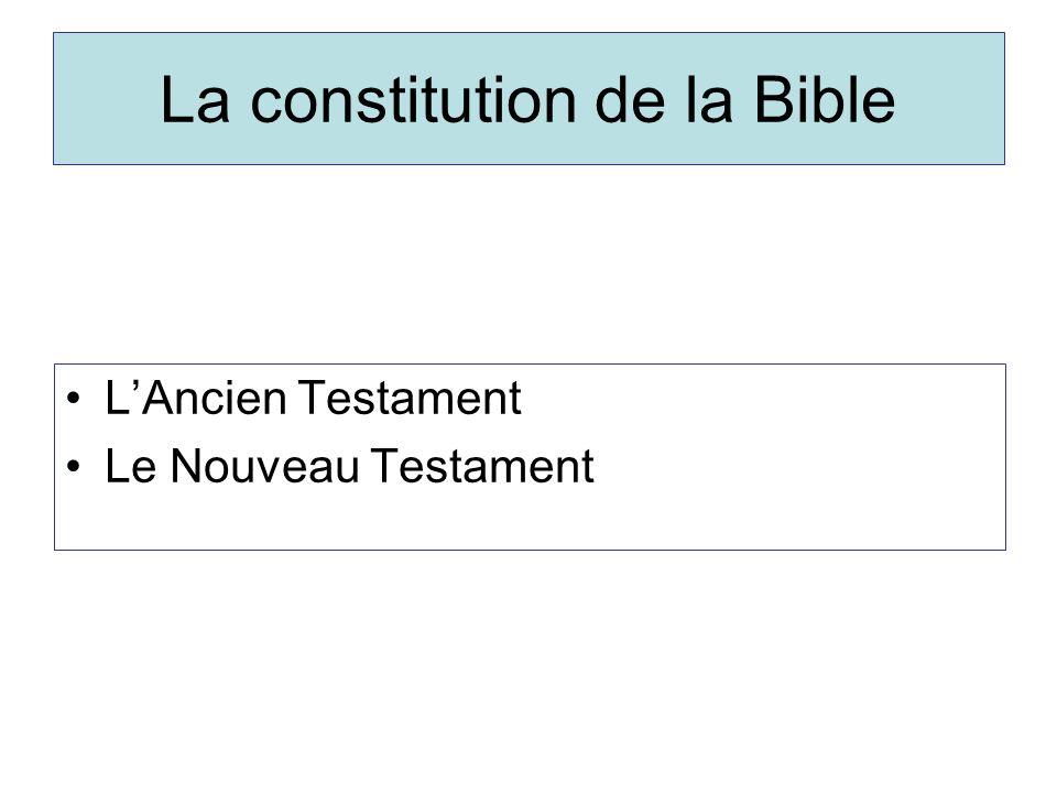 La constitution de la Bible LAncien Testament Le Nouveau Testament