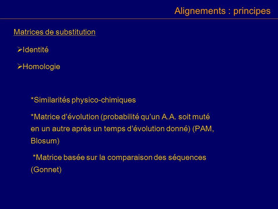 Identité Homologie *Similarités physico-chimiques *Matrice dévolution (probabilité quun A.A.